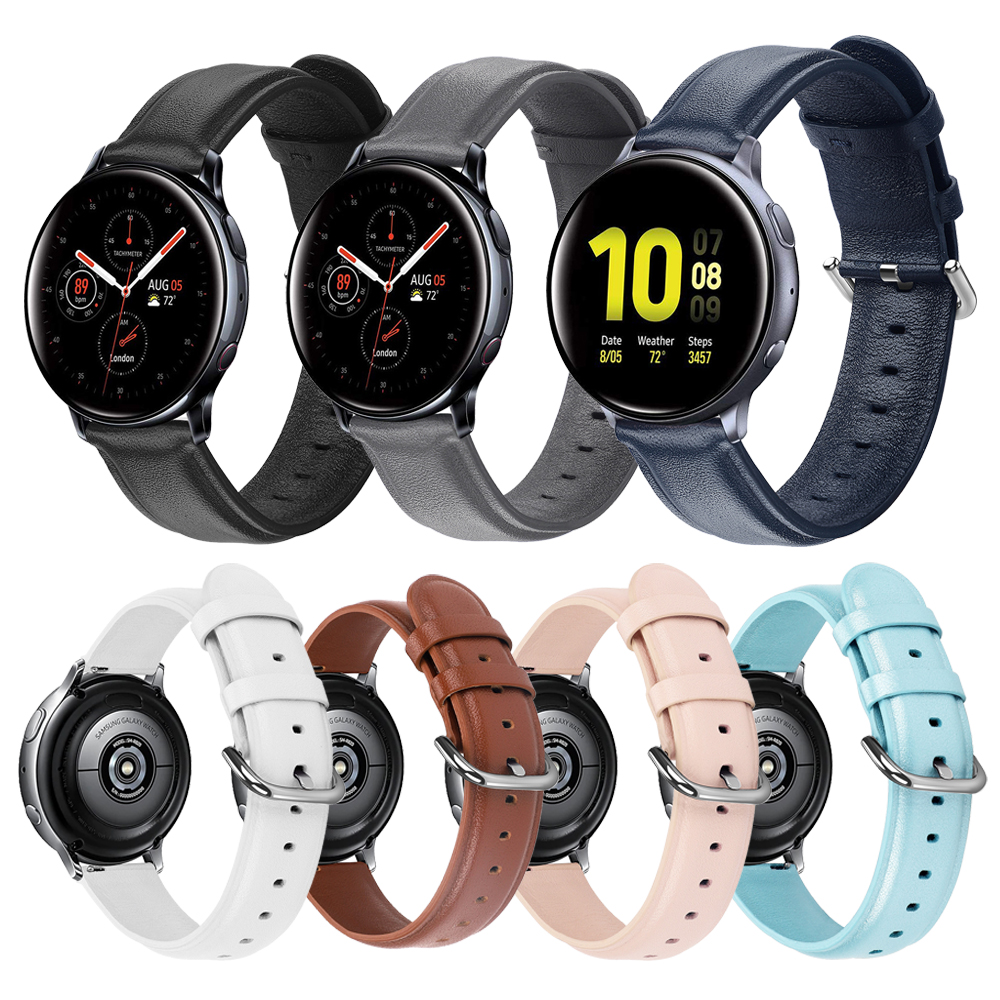 Leather Strap For Samsung Active2 44mm 40mm SM-R820 R830 R500 R600 R810 Galaxy Watch 42 Active 2 Wrist Band Bracelet Watchband