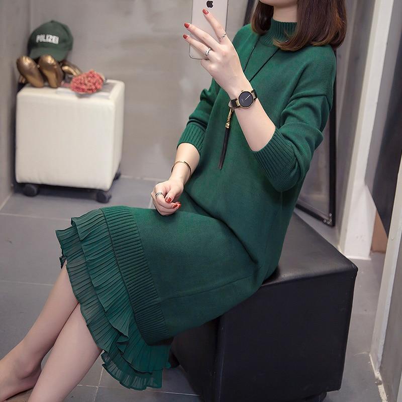 XL-4XL Plus Size Women Turtleneck Knitted Dress Winter 2019 Long Sleeve Patchwork Pleated Ruffle Ladies Sweater Warm Dresses