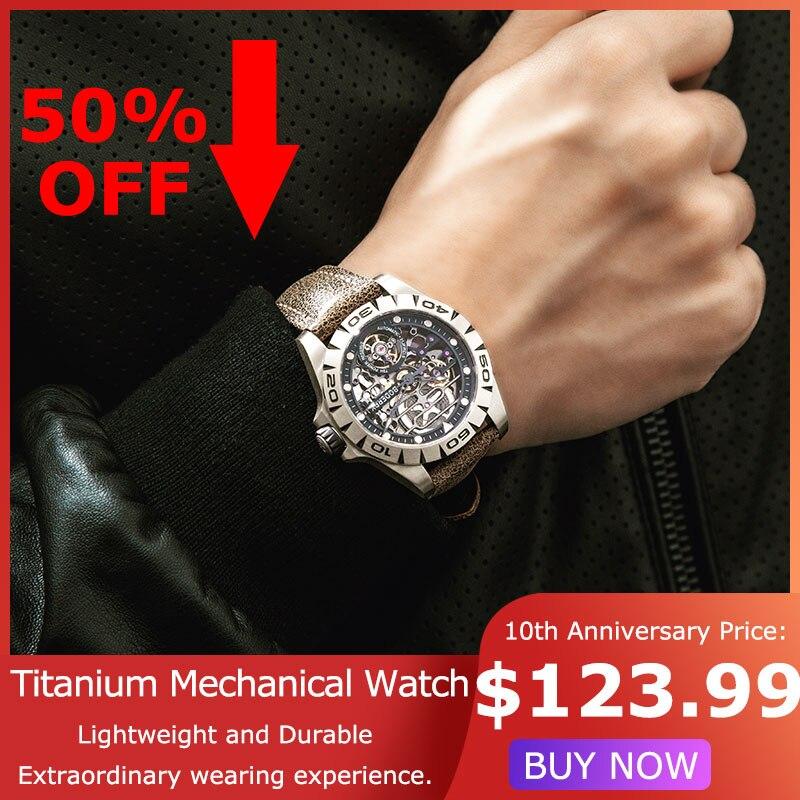 Caso de titânio 2020 marca de luxo relógios masculinos esqueleto automático relógio mecânico à prova dwaterproof água masculino relogio masculino