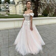 SWANSKIRT Sweetheart 3D Flowers 웨딩 드레스 로맨틱 아플리케 a 라인 Illusion Princess Vestido de novia SA02 Bridal Gown