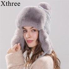 Женские шапки-ушанки Xthree, зимняя теплая вязаная шапка-ушанка из искусственного меха, ушанка с помпоном