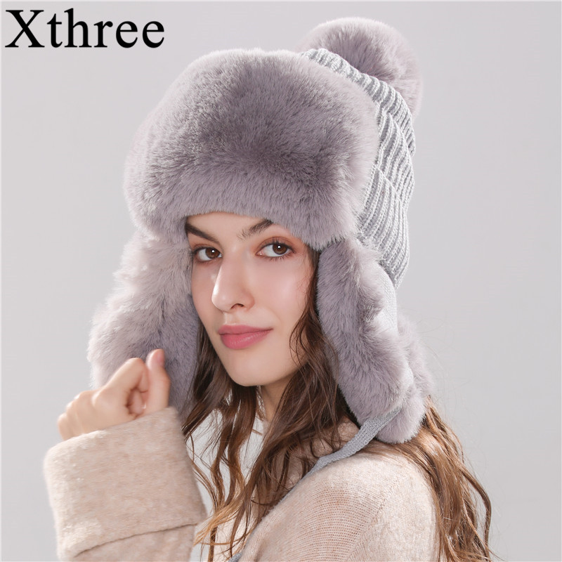 Xthree Bomber Hats Winter Women's Hat Warm Kitted Hat With Ear Flap Faux Fur Trapper Cap With Pom Pom