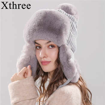Xthree Bomber Hats Winter Women's Hat Warm Kitted Hat with Ear Flap Faux Fur Trapper Cap With Pom Pom - DISCOUNT ITEM  45% OFF All Category