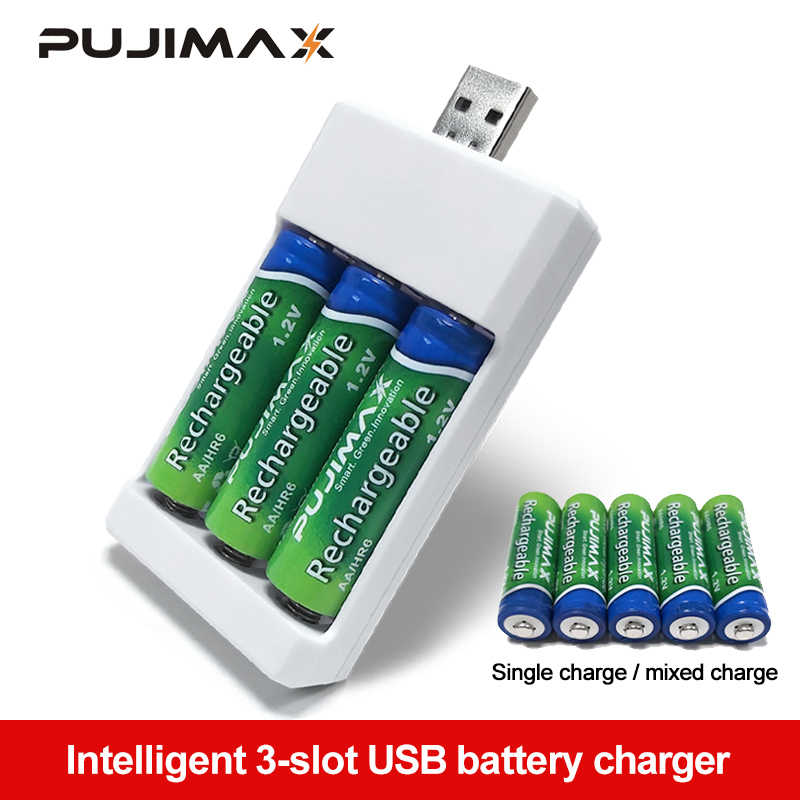 PUJIMAX 3 Soltsแบตเตอรี่Charger Adapterปลั๊กUSBแบตเตอรี่ChargerสำหรับUniversal AA/AAAแบตเตอรี่อุปกรณ์เสริม