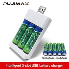 PUJIMAX – chargeur de batterie 3 Solts, adaptateur, prise USB, universel, piles rechargeables AA/AAA, accessoires d'alimentation