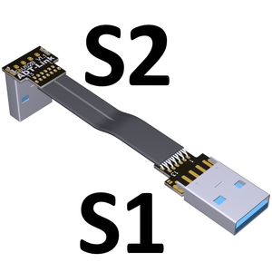 Image 5 - USB Ribbon Cable Flat EMI shielding FPC Extension Cable USB 3.0 90 degree Connector up and downward 5cm 3m Length customization