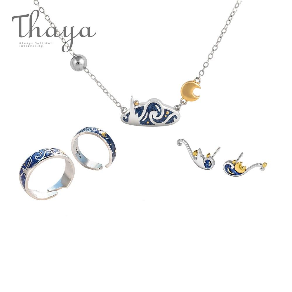 Thaya Van Gogh's Fine Jewelry Set Genuine s925 Silver Ring Enamel Necklace Earrings Stud for Women Romantic Gift