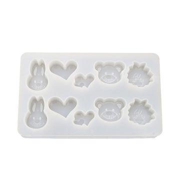 Molde de cristal epoxi DIY hecho a mano conejito oso colgante de joyería Fabricación de moldes de silicona cubo de hielo espejo