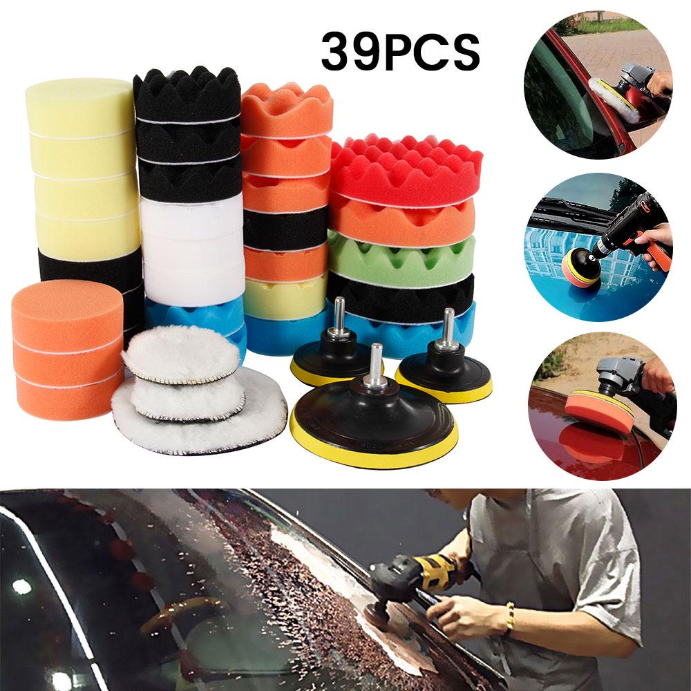 Kit de tampons d'éponge de polissage de voiture Kit de tampon de mousse tampons de cire de Machine de polissage pour enlève les rayures