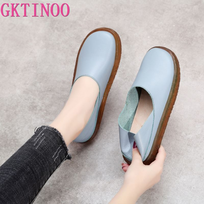 GKTINOO 2020 Genuine Leather Summer Loafers Women Casual Shoes Moccasins Soft Ladies Footwear Platform Women Flats Shoes Female