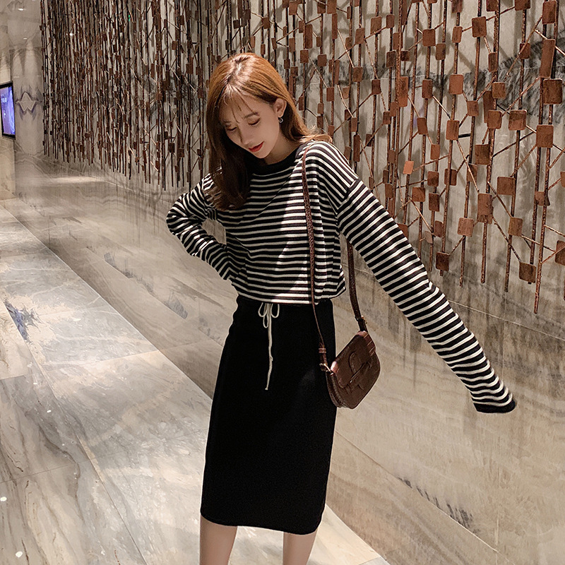 WOMEN'S Suit 2019 Autumn New Style Laziness-Style Stripes Pullover Knitting Shirt + Sheath Skirt Two-Piece Set F7534