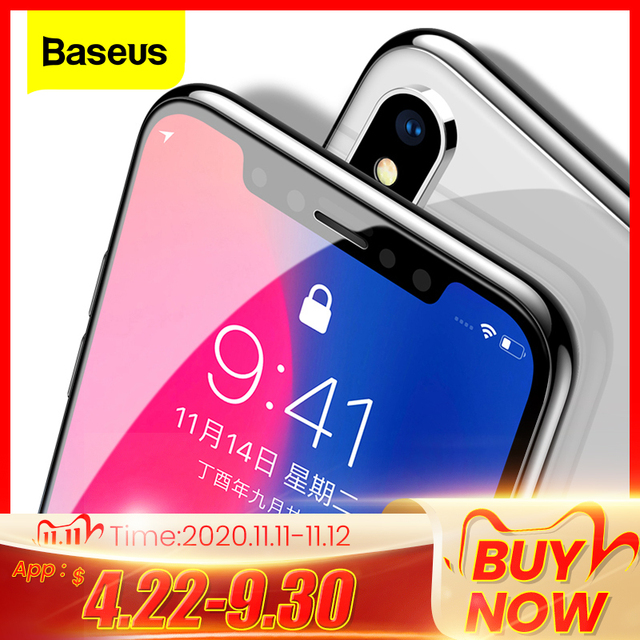 Baseus 0.3mm Screen Protector Tempered Glass For iPhone 12 11 Pro Xs Max X Xr Full Cover Protective Glass For iPhone 12 Pro Max