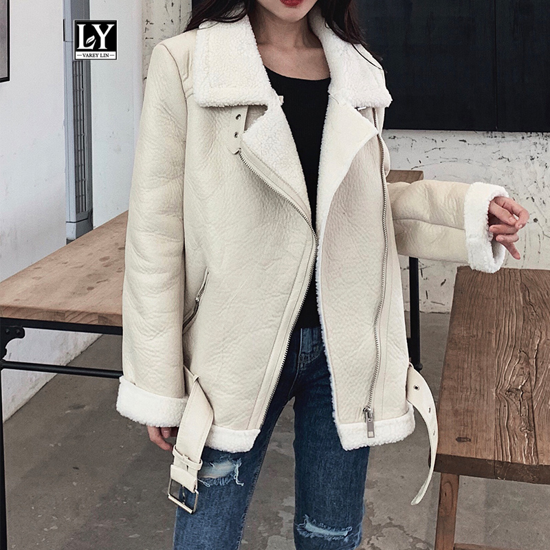 Ly Varey Lin New Women Lamb Fur Faux Leather Jacket Coat Turn Down Collar Winter Thick Warm Oversized Zipper With Belt Outerwear
