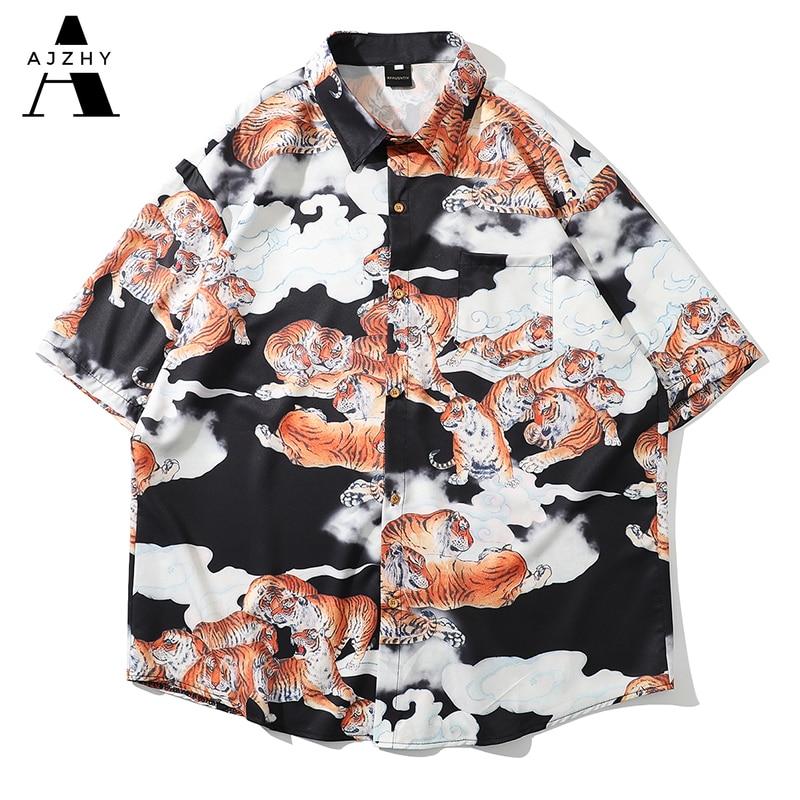 Hawaiian Shirts Streetwear Hip Hop Harajuku Casual Tropical Beach Tiger Print Short Sleeve Shirt Men Summer Fashion Tops Male
