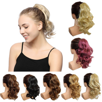 jeedou Short Wavy Ponytail Hair Extensions Claw Ponytails Synthetic 16 1