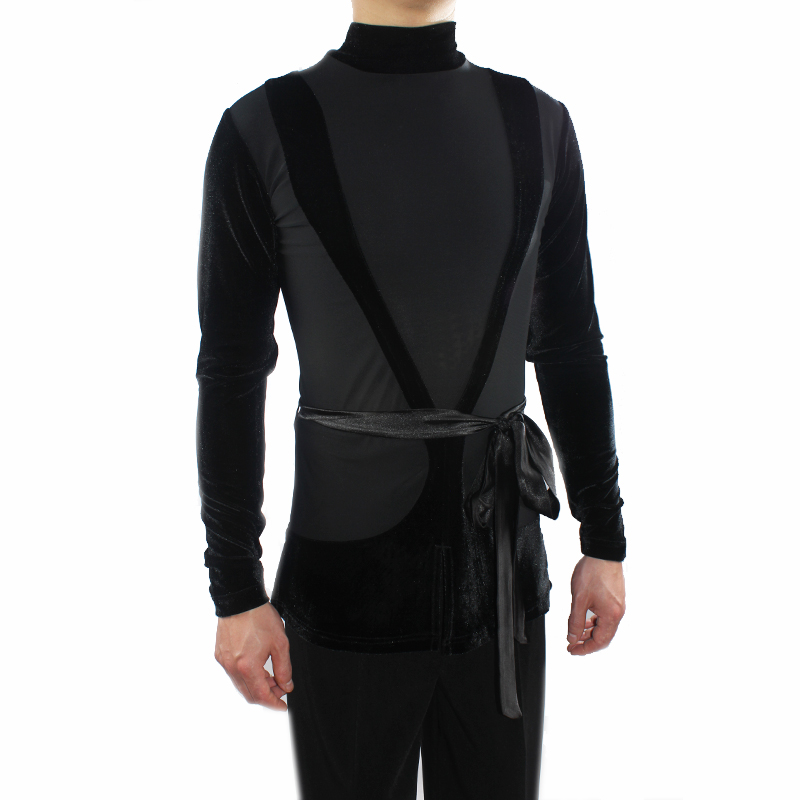 New Latin Man Shirt With Waist Belt Tops Adult Male Tango Practice Wear Ballroom Performance Men Latin Dance Clothes VDB653