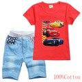 Комплекты детской одежды Disney McQueen с машинками, спортивные костюмы для маленьких мальчиков с мультяшным принтом, детские спортивные костюмы ...