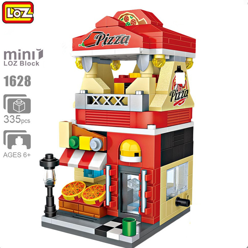 LOZ Mini Street View 335PCS Architecture 3D Model DIY Education Bricks Pizza Store Building Blocks Kids Gifts Toys For Children