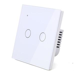 Image 3 - (필요 없음 중립) 와이파이 터치 라이트 벽 스위치 화이트 유리 블루 LED 스마트 홈 전화 컨트롤 1 갱 2 웨이 알렉사 구글 홈