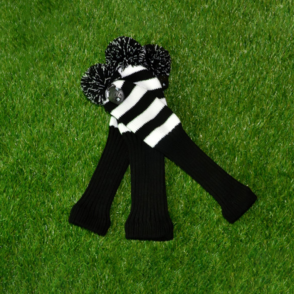 3pcs/set Value Individualized Looking Anti Wrinkle Accessories Club Head Covers Knitted Sports Washable Outdoor Protector Soft