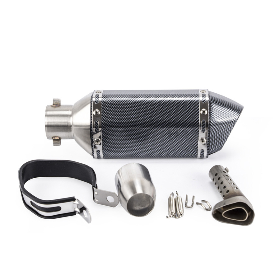 Universal Motorcycle ATV Exhaust Muffler Pipe Carbon Fiber Color Stainless Steel Inlet 36 51mm With DB Killer For CB600 CBR300 - 2