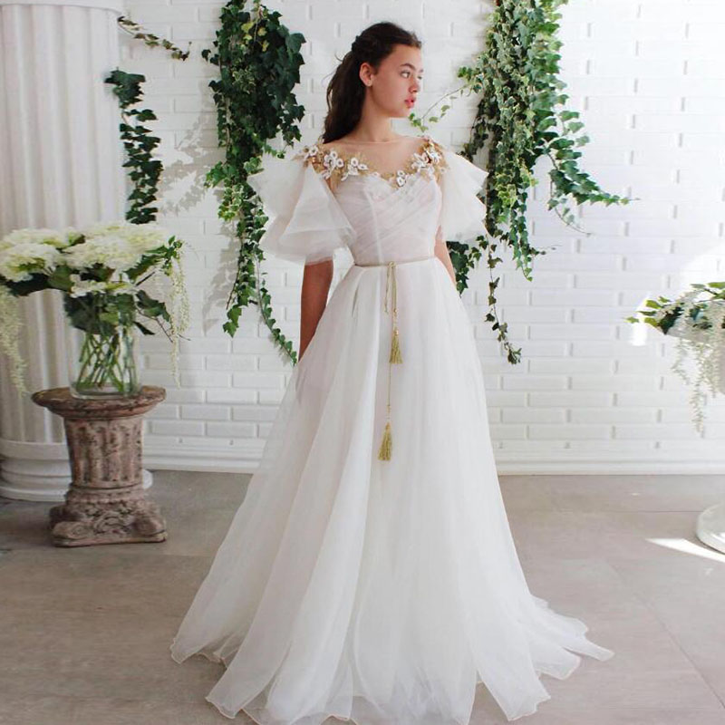 White and Gold Evening Dress 2020 O-Neck Appliques Flowers Short Sleeve Graduation Dress for Party Prom Gown abiye gece elbisesi