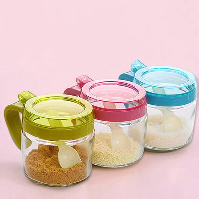 Glass Seasoning Box Spice Jars Kitchen Tools Spice Container Seasoning Jar Seasoning Bottle Spice Bottle Salt Pepper Spice Box