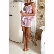 Пижама женская в полоску с разрезом пикантный комплект нижнего