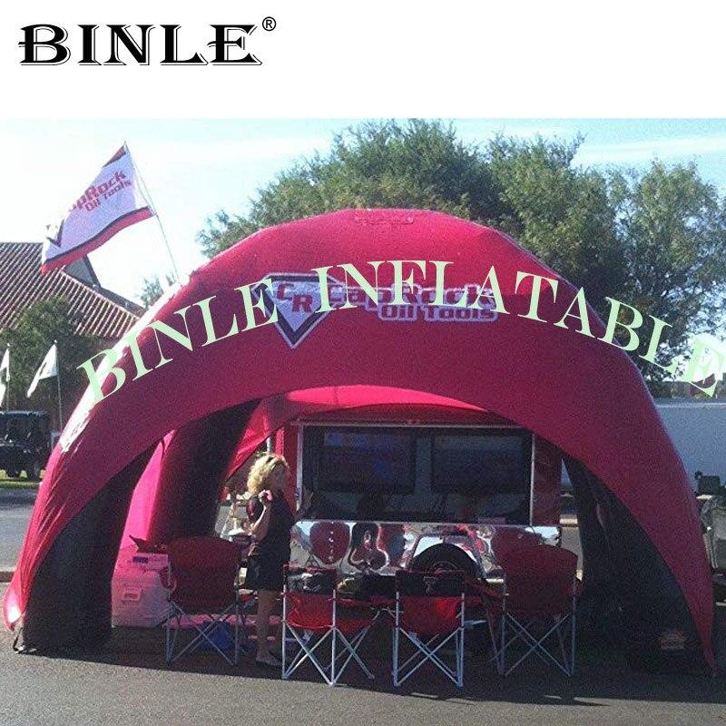 Belle tente d'araignée gonflable rouge de 4 jambes avec 3 panneaux amovibles station d'événement portative en nylon de dôme d'air pour la promotion extérieure