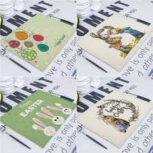 Cute Rabbit Linen Table Mat Happy Easter  Home Place mats Cartoon Animal Kitchen Dining Place mat Pads Napkins