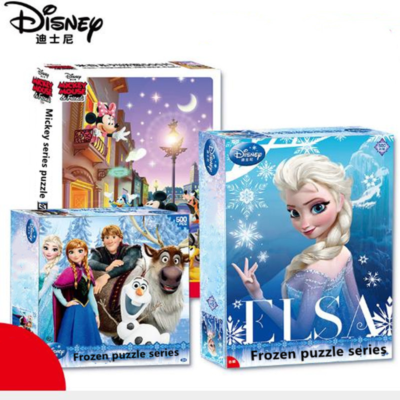 Disney Jigsaw Puzzle Toy 500 Pieces Of Paper Adult Puzzles Frozen Mickey Spider-man Puzzles Toys For Children