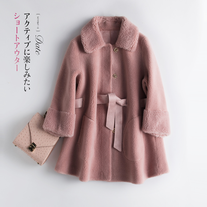 ELegant Real Fur Coat Women Clothes 2020 Korean Fashion Sheep Shearing Wool Short Jacket Vintage Winter Coat Hiver 858LW