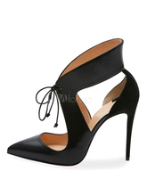 Moraima snc Black High Heels Women #8217 s Pointed Toe Lace Up Cut Out Sexy Shoes Summer Thin Heels Lace-up Sandal cheap Basic Microfiber Super High (8cm-up) Fits true to size take your normal size Mature Shallow Dress Spring Autumn Rubber