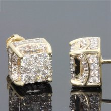 1 Pair Cute 18 K Yellow Gold Color Stud Earrings For Women Golden Fashion Jewelry Crystal Zircon Earrings Gift(China)