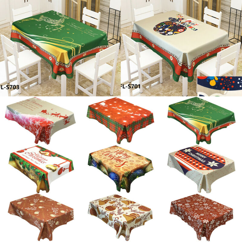 2019 New Merry Christmas Tablecloth Print Table Cover Xmas Party Home Dinner Decor Gift image