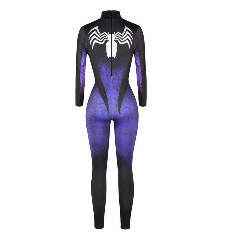 Cosplay macacão preto bodysuits veneno traje de halloween mulheres senhoras veneno aranha mulher falso couro zentai