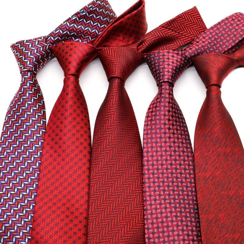 YISHLINE 2020 Novelty Classic 8CM Men Ties Paisey Red Man Neck Ties Neckwear Bridegroom Business Wedding Tie Party Accessories