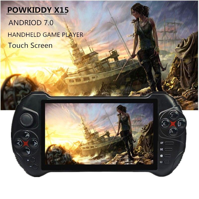 Powkiddy X15 وحدة تحكم بجهاز لعب محمول 3000MA بطارية 5.5 بوصة 1280*720 HD Andriod 7.0 MTK8163 رباعية النواة 32 جرام ROM لعبة فيديو وحدة التحكم|لعبة اللاعبين المحمولة| - AliExpress