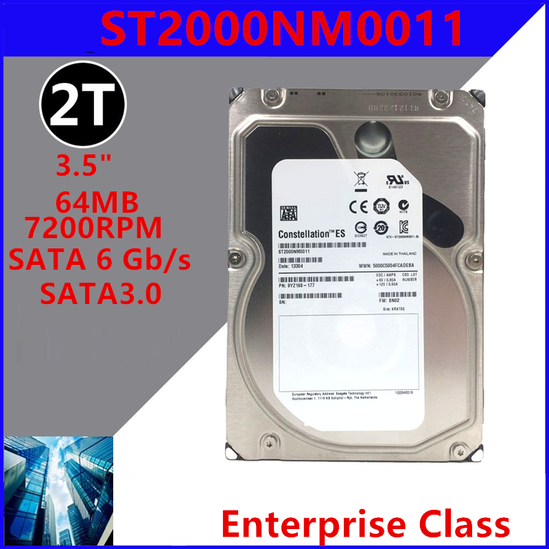 """New HDD For Seagate 2TB 3.5"""" SATA 6 Gb/s 64MB 7200RPM For Internal HDD For Enterprise Class HDD For ST2000NM0011 1"""