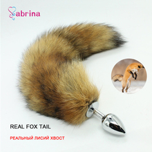 Real Fox Tail Metal Anal Butt Plug Dildo Sex Toy for Women and Men Couple Exotic Accessories Fetish BDSM Bondage Game