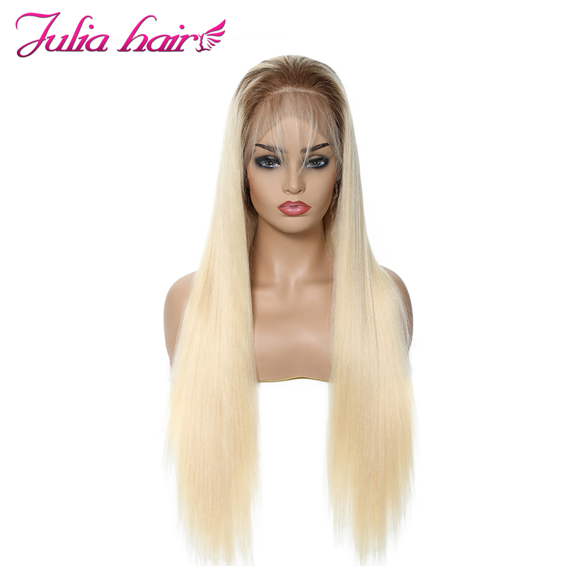 Ali Julia Hair13*4 13*6 Tranparent Lace Front Wigs T4/613 Ombre Color Brazilian Straight Remy Human Hair Wig 150% 130% Density