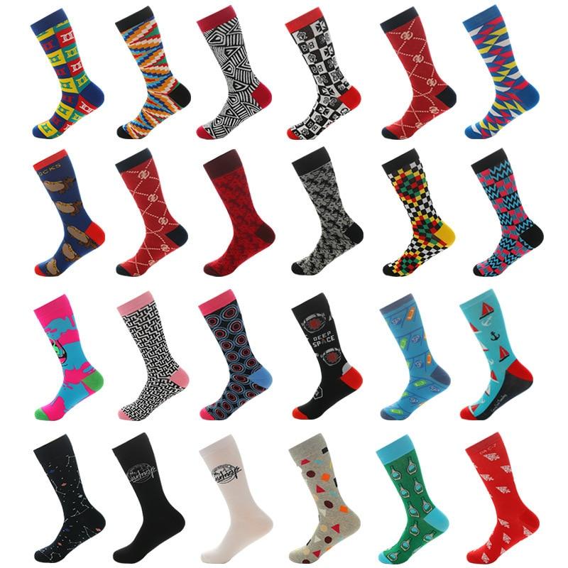 New Happy Men   Socks   Funny Colorful Geometry Pattern Novelty   Sock   Casual Skate Combed Cotton Sokken Men Crew   Socks