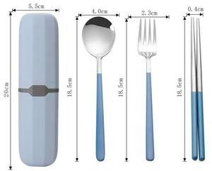 1Set Portable Stainless Steel Cutlery Suit with Storage Box Chopstick Fork Spoon Knife High Quality Travel Tableware Set