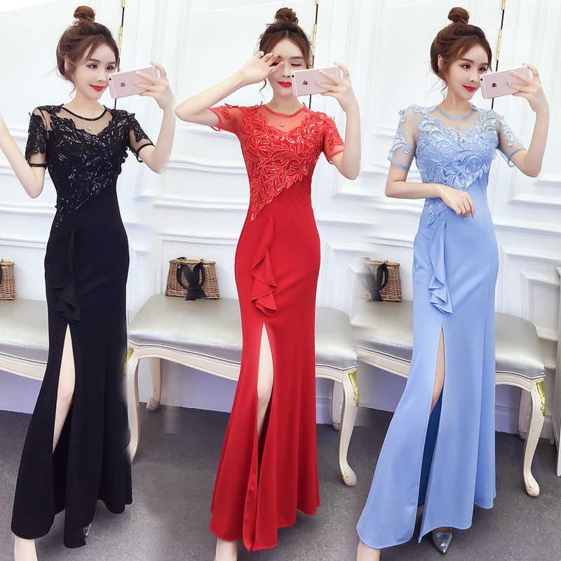 Luz Vestido Azul Para Dama De Honor Rojo Vestido Azul Marino Largo Fiesta De Boda Para Mujer Bordado Volantes Vestido Negro Para La Cena