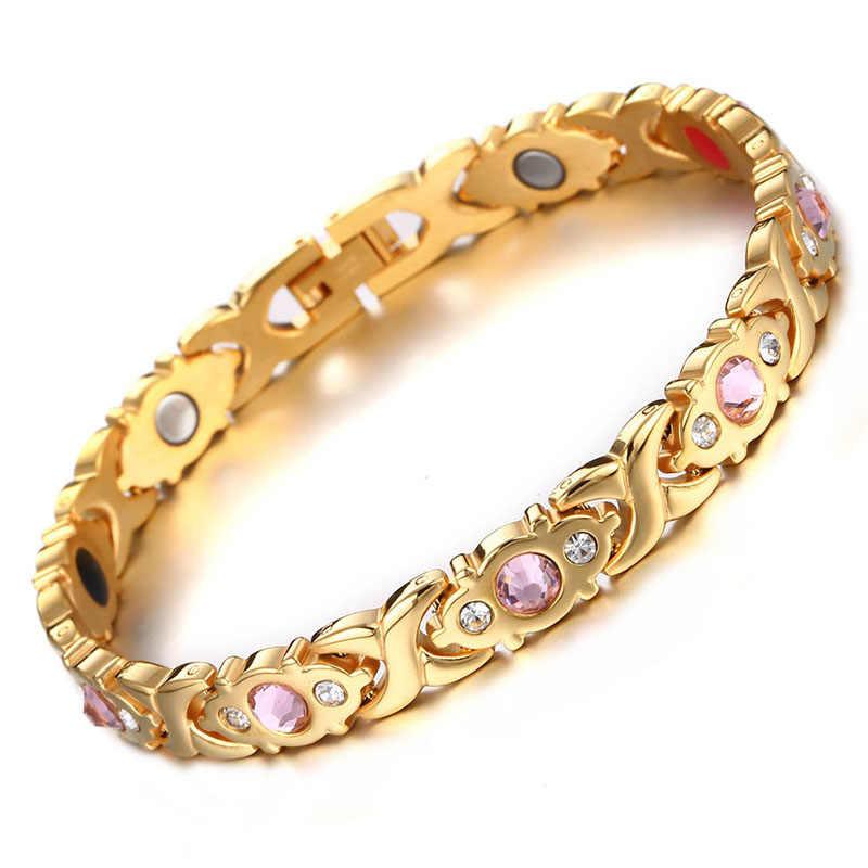 Rose Gold สี 316L สแตนเลสสตีลสีชมพู Rhinestone สร้อยข้อมือแม่เหล็กผู้หญิง Arthritis Therapy Healing Energy สร้อยข้อมือ