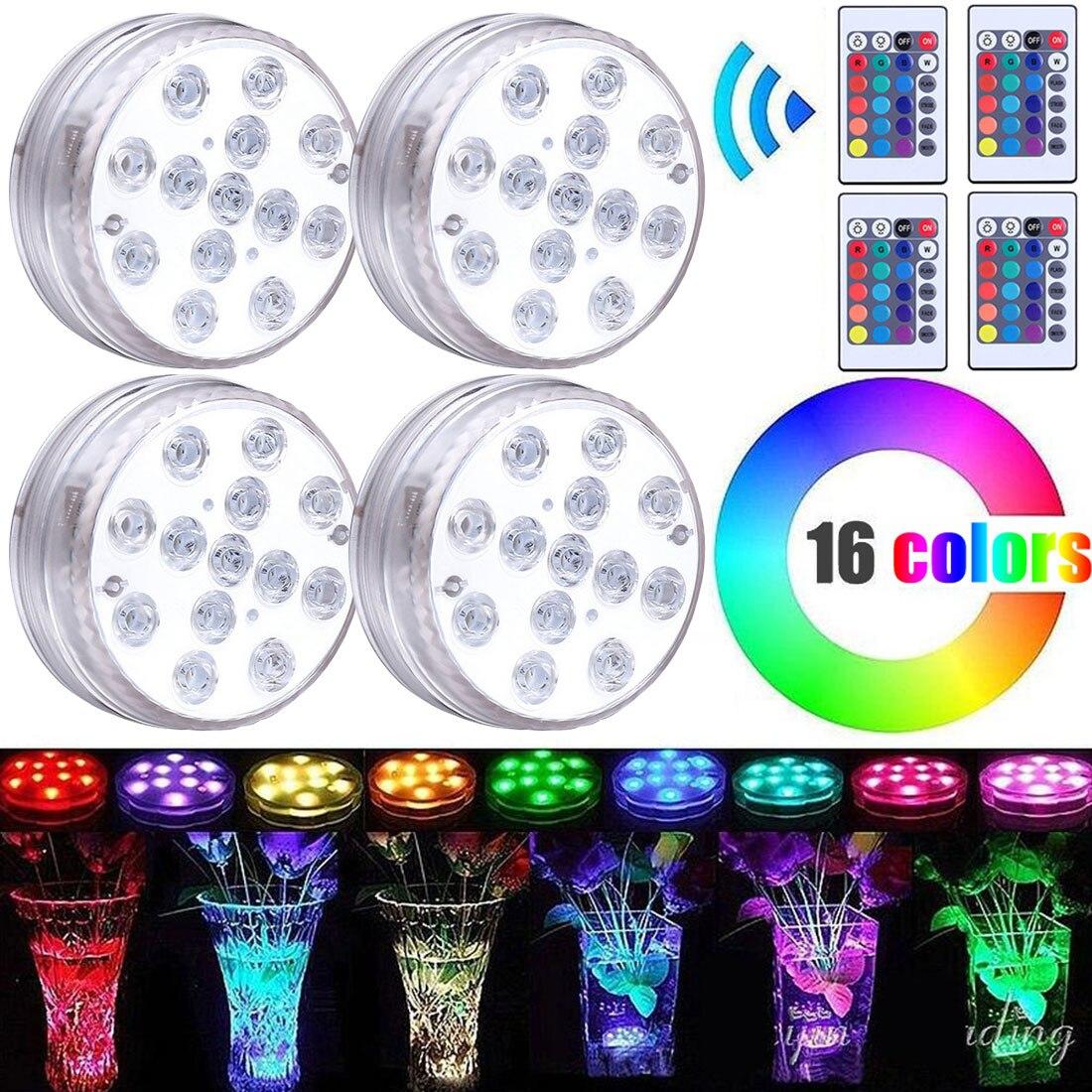 3 LED/ 13 LED luci a LED sommergibili lampada da notte impermeabile telecomando per diserbo Tea Light vaso decorazioni per feste