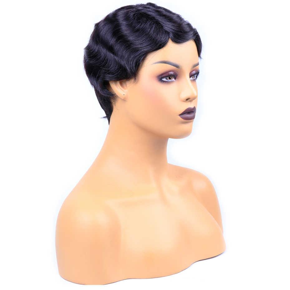 Piaoyi Finger Wave Wig Short Human Hair Wigs Brazilian Ocean Wave Non-Remy Human Hair Non-Lace Wigs For Black Women