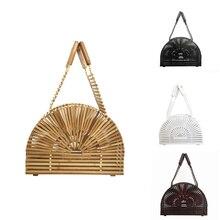 Bamboo Bags for Women 2019 Handbags Hollow Out Summer Beach Bags Handmade Ladies Luxury Brands Designer Half Moon Tote Bag недорого
