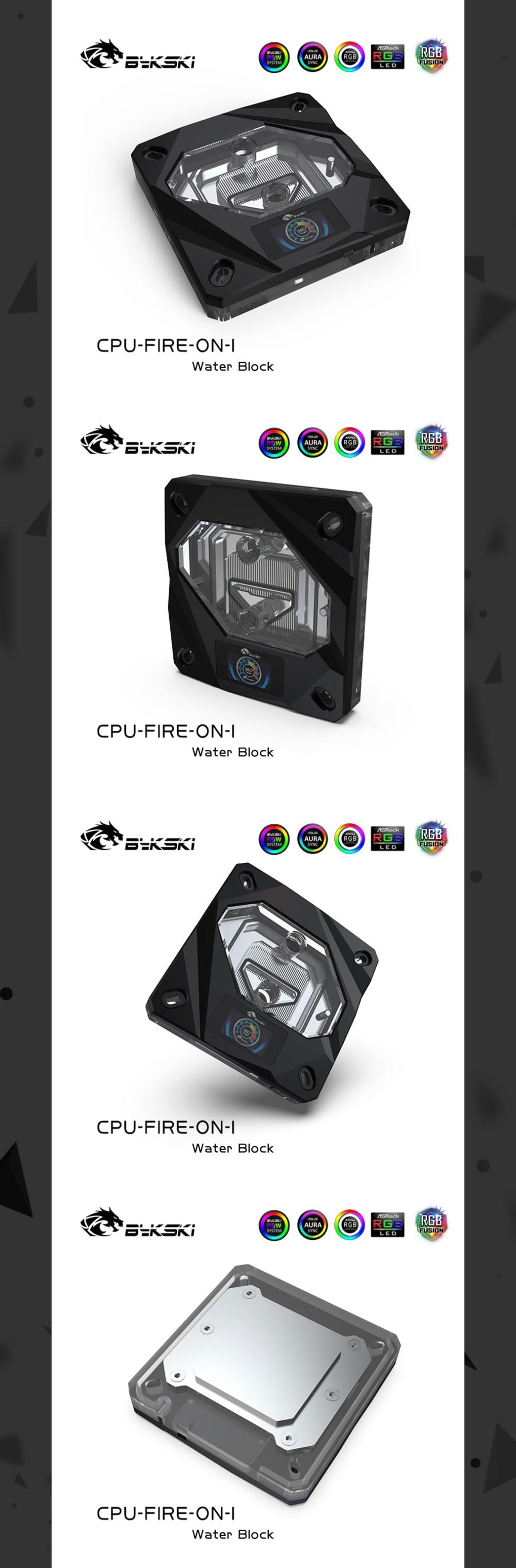 Bykski Temperature Digital Display CPU Water Block For Inter AMD, Intelligent Temperature Monitoring CPU-FIRE-ON CPU-RAY-ON-M
