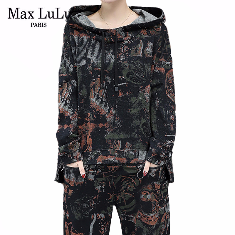 Max LuLu Korean Fashion Luxury Ladies Two Pieces Set Womens Camouflage Tops And Pants Vintage Hooded Tracksuit Casual Streetwear